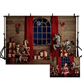 MEHOFOND 7x5ft Christmas Photography Background Xmas Rustic Wood Red Curtain Window Indoor Horse Carousel Backdrops Winter Birthday Party Decoration Banner Photo Portrait Props