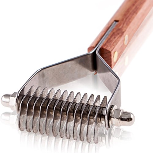 Paws Pamper Undercoat Rake for Small to Medium Dogs or Cats - 12 Blade Dematting Comb