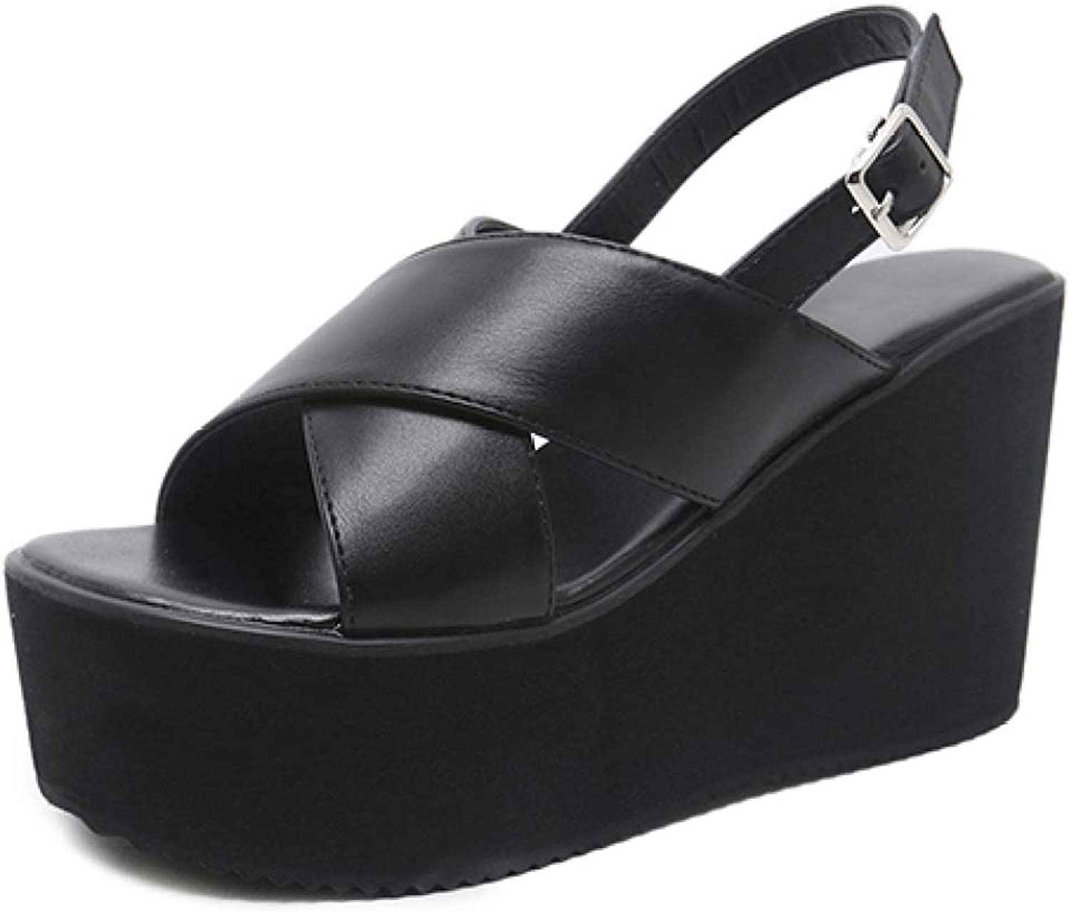 T-JULY Platform Wedges Sandals Fashion High Heels Buckle Black Ladies Casual Leather shoes Women Leisure Summer