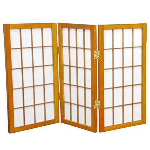 ORIENTAL FURNITURE 2 ft. Tall Desktop Window Pane Shoji Screen - Honey - 3 Panels