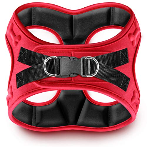 metric USA Comfort fit Dog Harness Easy to Put-on Comfortable Soft Padded Adjustable Step in Pet Vest Harnesses for Small and Medium Dogs, Red, XS, Chest 14-16