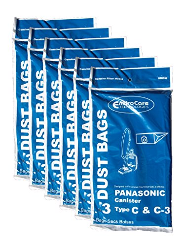 18 Panasonic Type C C-3 C3 Allergy Vacuum Bags, Canisters Vacuum Cleaners, MC-125P, MC125P, MC771,...