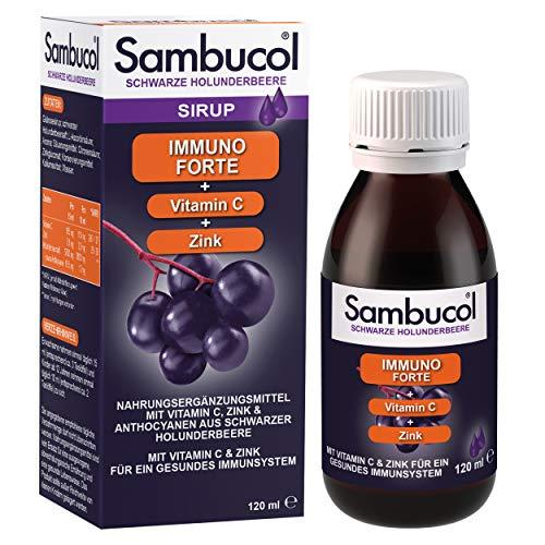 Sambucol Immuno Forte – 120ml schwarzer Holunderbeeren Sirup mit Vitamin C & Zink zur Unterstützung des Immunsystems und der Abwehrkräfte – von Virologin entwickelter weltweiter Bestseller