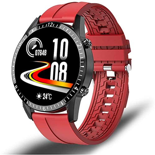 AMBM Reloj inteligente para teléfono con pantalla táctil completa, reloj de fitness, IP68, conexión Bluetooth impermeable, para Android Ios Smartwatch para hombres (color negro)-rojo