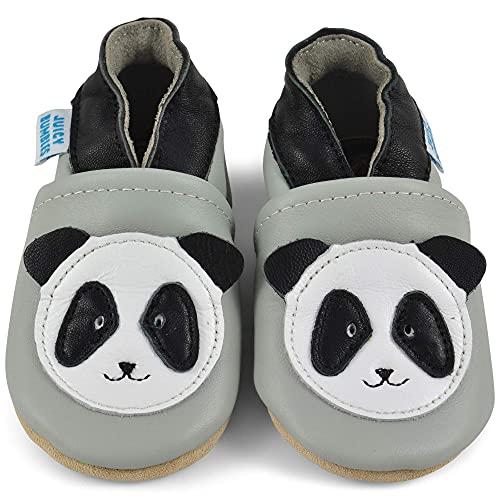 Juicy Bumbles - Weicher Leder Lauflernschuhe Krabbelschuhe Babyhausschuhe mit Wildledersohlen. Junge Mädchen Kleinkind- Gr. 12-18 Monate (Größe 22/23)- Panda