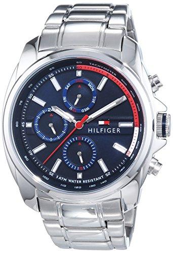 Tommy Hilfiger Watches Preston - Reloj Analógico de Cuarzo para Hombre, Correa de Acero Inoxidable Color Plateado