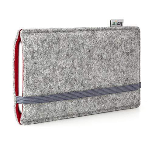 stilbag Funda de Fieltro 'Finn' para Huawei Ascend P7 - Color: Gris/roja