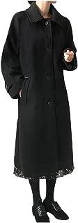 Winter Women Warm Woolen Button Long Coat Solid Vintage Long Sleeve Work Office Casual Jacket Coat