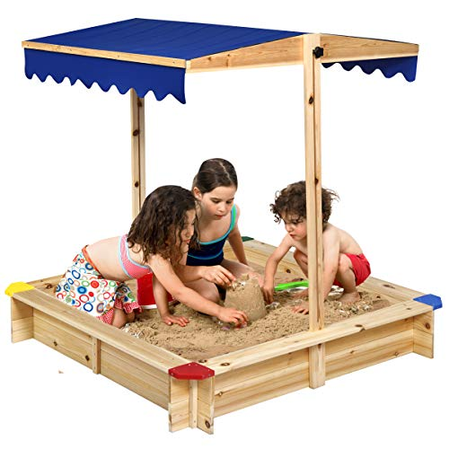 Costzon Kids Wooden Sandbox w/Convertible Canopy, Cedar Square Cabana Sandbox, Children Outdoor Playset for Backyard, Home, Lawn, Garden, Beach, Large Sand Box w/Height Adjustable & Rotatable Canopy