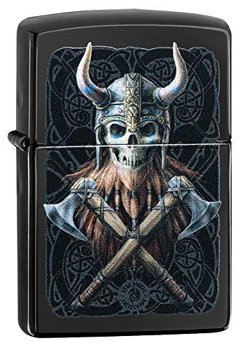 Zippo Unisex-Erwachsene Anne Stokes Viking Skull Design High Polish Blackpocket Classic Lighter, Hochglanz-schwarzer Wikingerschädel, Einheitsgröße