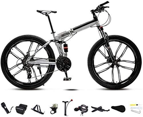 MJY Bicicletta da mtb 24-26 pollici Honglianriven, bici da pendolare pieghevole unisex, bici da bicicletta pieghevole a 30 marce, doppio freno a disco/ruota bianca/C / 24 '5-29