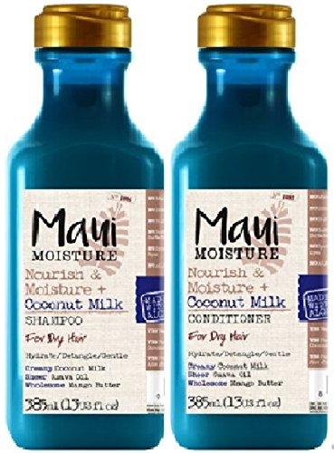 Maui Moisture Nourish & Moisture Shampoo mit Kokosmilch, 385 ml, Maui Moisture Nourish & Moisture Haarspülung mit Kokosmilch, 385 ml, für normales bis trockenes Haar, 2 Stück