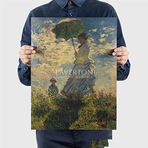 Sonnenschirm Frau Monet Überliefert Ölgemälde Poster Weltberühmten Gemälde Vintage Kraftpapier Dekorative Malerei Wandaufkleber