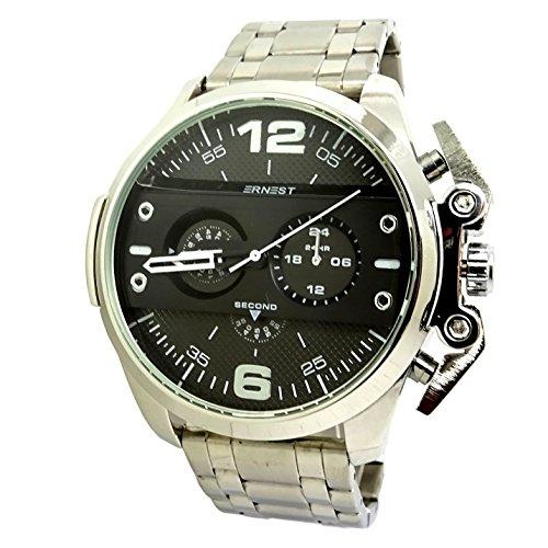 Reloj Luxe hombre XXL plata negro titanio acero Ironside Idea regalo Only Brave