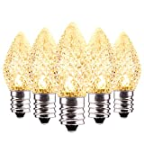 25 Pack C7 LED Replacement Christmas Light Bulbs for Light Strand, Dimmable Holiday Bulbs for E12 Base Sockets, Clear
