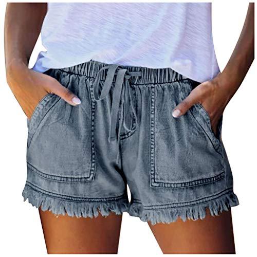 UOFOCO Women's Summer Casual Frayed Raw Hem Jean Shorts Drawstring Elastic Waist Denim Short Pants with Pockets (Small,Dark Blue)