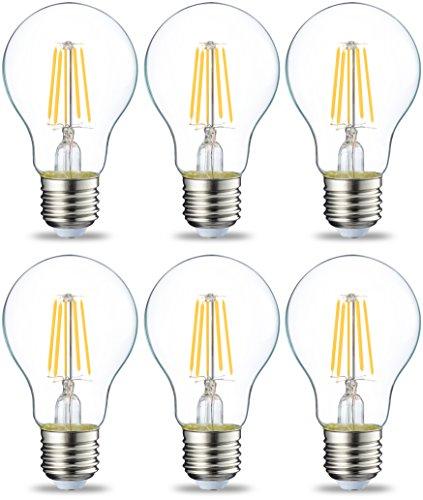 Amazon Basics E27 LED Lampe, 4.3W (ersetzt 40W), klar, 6er-Pack