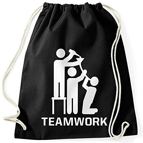 MoonWorks® Turnbeutel mit Spruch Teamwork lustiger Turnbeutel Saufen Bier Party schwarz Unisize