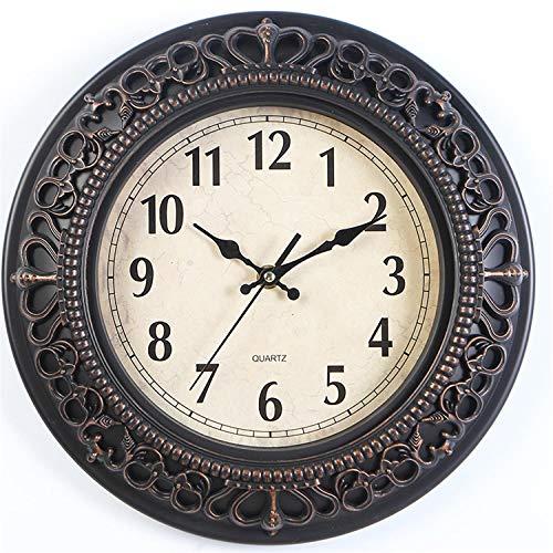 Tebery Reloj de pared de madera sin tictac, moderno, nostálgico, para salón, cocina, oficina (30,5 cm, bronce dorado)