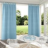 132x305cm Azul Cielo Cortinas para Exteriores de Velcro, Resistentes al Viento, Resistentes al Agua, Resistentes a la harina, para jardín, balcón, casa de Playa, vestíbulo, Cabana