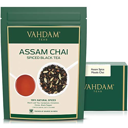 VAHDAM, Assam Spiced Masala Chai Tea | (100 tazas) | ESPECIAS 100% NATURALES | Te Assam, Cardamomo, Canela, Clavo, Pimienta Negra | Hojas de te chai con especias de la India | 100g (Set of 2)
