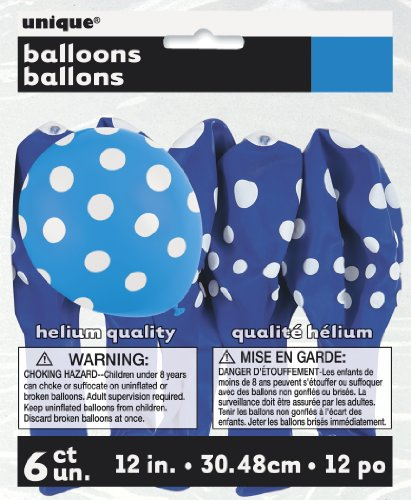 Bleu roi Pois Ballons – Lot de 6