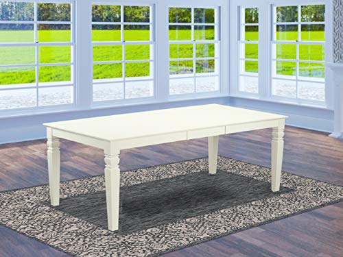East West Furniture LGT-LWH-T Logan Dining Table - Linen White Table Top Surface and Linen White Finish Stylish 4 Legs Hardwood Frame Wood Kitchen Table