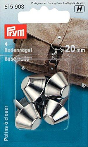 Prym Bodennägel für Taschen, Metall, silberl, 20mm Durchmesser, 4 Stück