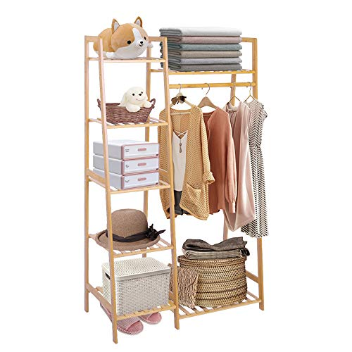 COOGOU Bamboo Wood Garment Rack Clothing Rack with 5 Tiers Storage Shelf Corner Clothes Hanging Rack for Coat Jacket Trouser Shoe Coat Plant in Home Laundry Commercial Office (Ladder Design)