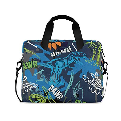 Cuteprint Laptop Case Bag Abstract Dinosaur Pattern Laptop Sleeves Briefcase Messenger Bag with Strap for Woman Man Business Office School,14 15.6 Inch