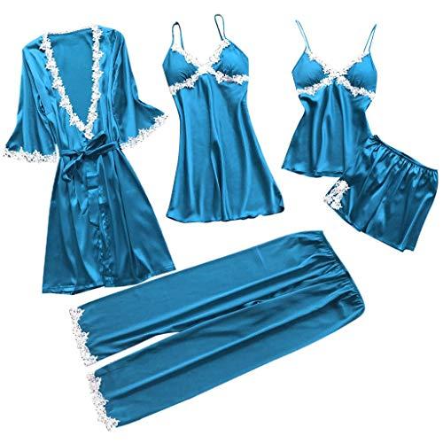 Proumy Conjunto Pijamas Mujer Verano Batas Sexy de Seda 5 Piezas Sets Camisola de Tiras Pantalones y Calzoncillos Kimono Cuello V Larga Chaleco de Encaje Floral Blanca Ropa de Dormir Vestido Azul