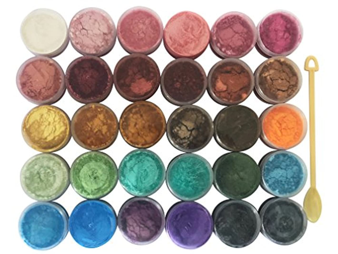 30 Color Pigments Shimmer Mica Powder - DIY Soap Making, Candle Making,Resin Dye, Mica Powder Organic for Soap Molds - Bath Bomb Dye Colorant