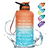 PASER 64oz Water Bottle with Straw & Dual Handle, BPA Free Water Jug Hydration with Motivational Time Marker Leak-Proof for Camping Sports Workouts and Outdoor Activity (Included Straw Brush)