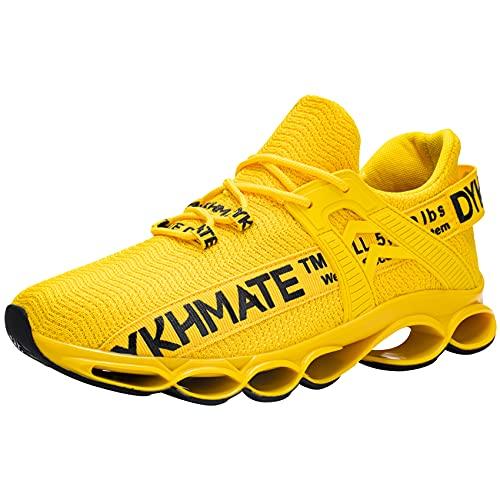 DYKHMATE Zapatillas de Deporte Hombres Mujer Running Zapatos para Correr Antishock Gimnasio Sneakers Deportivas Transpirables (Amarillo,39 EU)