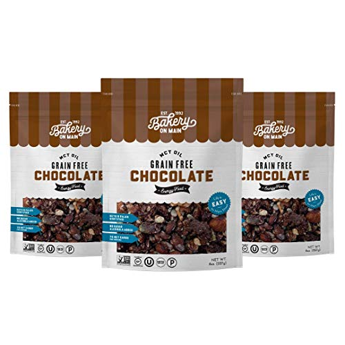 Bakery On Main, Grain-Free Granola + Baked With MCT Oil, Paleo + Keto Certified - Gluten-Free & Non GMO, Ketogenic Snack - Chocolate, 8oz (Pack of 3)