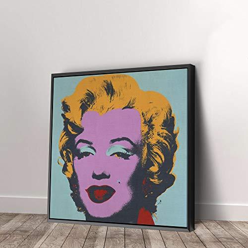 Andy Warhol Marilyn Monroe Pop Art Green Print on Canvas Art Wall Art Home Decor (30in x 30in Modern Black Framed)