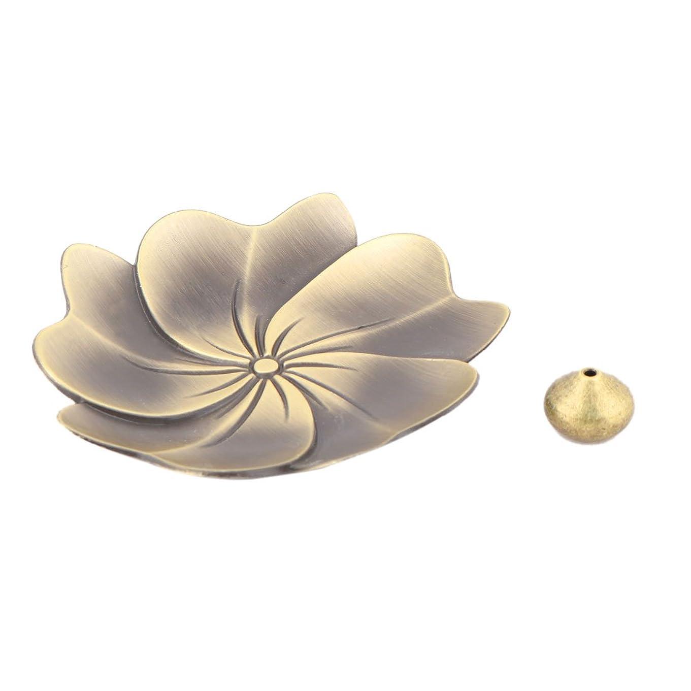 潜在的なフィルタヒールuxcell 香炉ホルダー お香立て インセンスホルダー 蓮 ロータス 花型 セット 金属製 家庭用 直径9cm