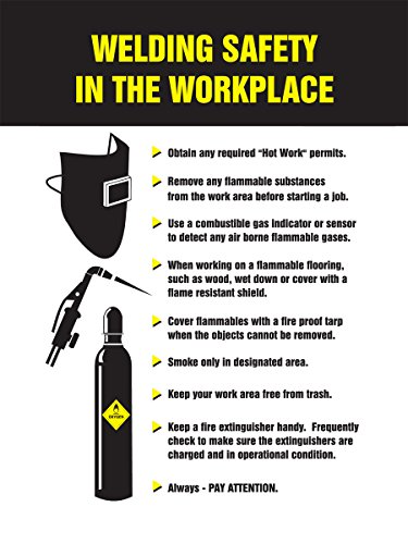 Accuform PST324 Safety Awareness Poster,'Welding Safety in The Workplace', 24' Length x 18' Width, Laminated Flexible Plastic