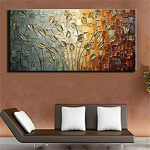 YCRD TTKX@ Moderne Große Handgemachte Blumenbilder Pallete Wandkunst Bilder Handgemalte Abstrakte Messer Lilie Blume Ölgemälde auf Leinwand,40×80cm