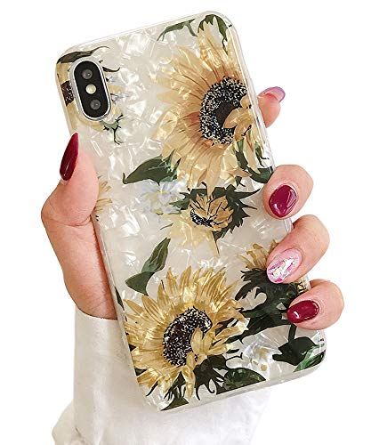 Qokey iPhone Xs Case,iPhone X Cases for Girls Women Cute Ultra Thin Shell Pattern Bling Crystal Clear Soft Bumper Lightweight TPU Silicone Anti-Scratch Phone Cover for iPhone Xs/X 5.8 inch Sunflower