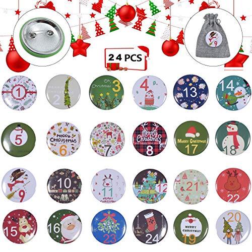 Sunshine smile 24 adventskalender cijferknoppen, DIY kerstkalender knoppen, cijfers insteker, buttons 1 tot 24,cijferpennen, nummer buttons, adventskalender pins