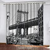 CoSept Blackout Curtains,Brooklyn New York USA Landmark Bridge Street with Cars Photo,for Bedroom (2 Panels,51.96x84.64 Inch),Black White and Charcoal Grey
