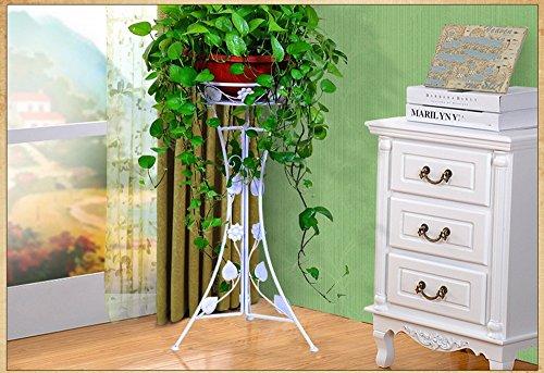 QFF Style Européen Rétro Noir Or Blanc Fer Fleurs Étagères, Balcon Salon Couloir Chambre Jardin Pot De Fleurs Étagère ( Couleur : Blanc , taille : Height 98cm )