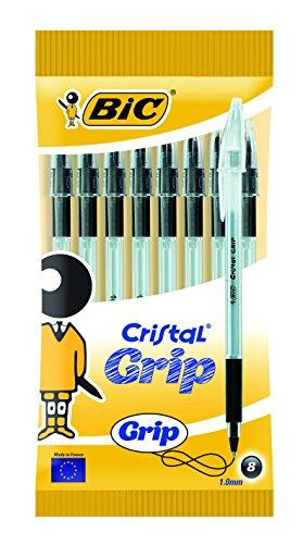 BIC Cristal grip penna a sfera media–nero (confezione da 8)