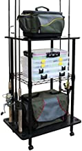 Rush Creek Creations 12 Fishing Rod Storage Tackle Cart - Fishing Pole and Equipment Holder - Easily Assembled Rod Rack and Rolling Cart