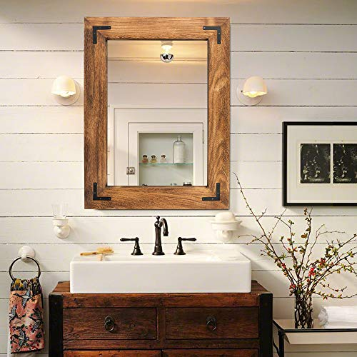 """Rustic Wooden Framed Wall Mirror, Natural Wood Bathroom Vanity Mirror for Farmhouse Decor, Vertical or Horizontal Hanging, 32"""" x 24"""", Brown"""