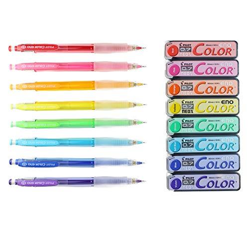 Pilot Color Eno Mechanical Pencil, 0.7mm, 8 Colors, Mechanical Pencil Lead, 0.7mm, 8 Colors & MIYABI Blue eraser set (HCR-12R8C/HRF7C-8C/MB-L)