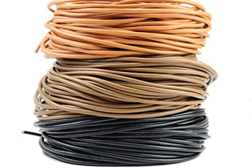 Lederen band lederen koord lederen riem zwart bruin cognac Ø 2 mm (2 meter/1.45 EURO lfdm.+0.95 EURO verzending lfdm, zwart)