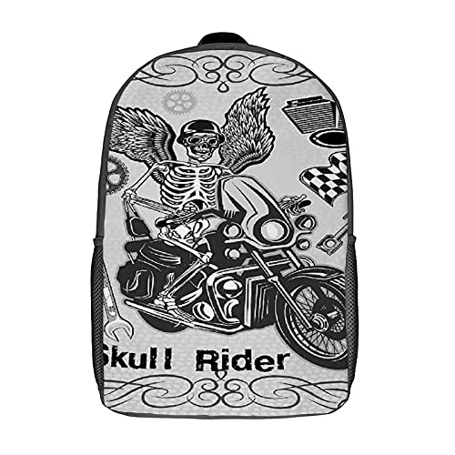 GKGYGZL Travel Laptop Backpack,Motorcycle Evil Hipster Dead Skull Skeleton Motorbike Rider Wings Drive to Hell Humor Image,Large Business Water Resistant Anti Theft Computer Daypack Slim Durable