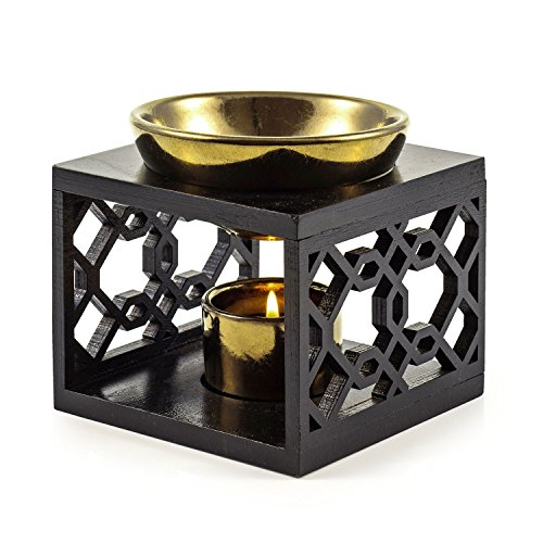 pajoma Holz/Keramik Duftlampe ''Oriental'', L 12 x B 12 x H 9,5 cm, schwarz Gold